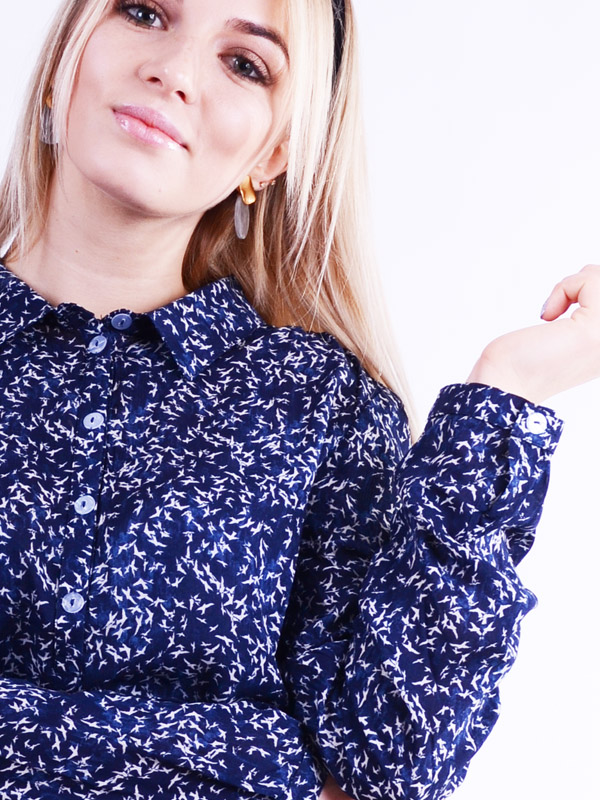 Blouse with a print of a swallow B70