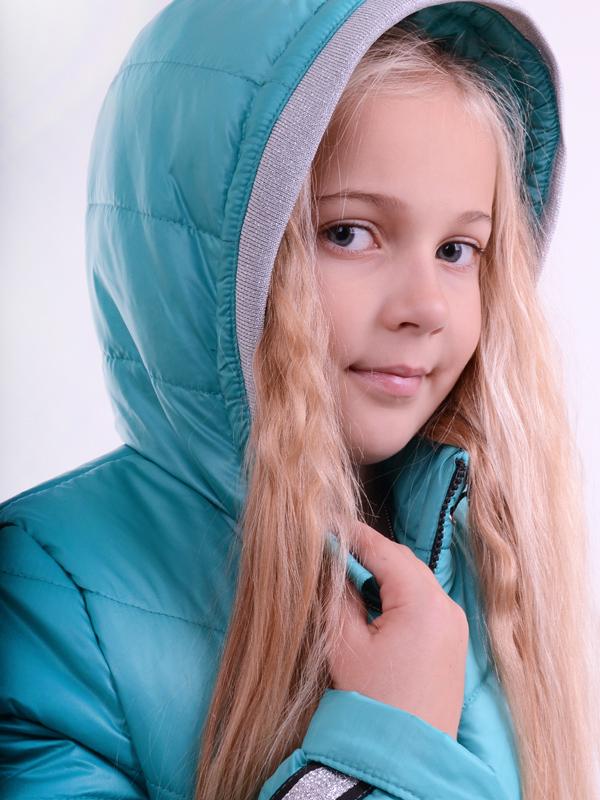Зимняя удлиненная куртка LUXIK бирюза k41