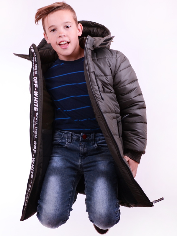 LUXIK teenager khaki p38 quilted coat with a hood
