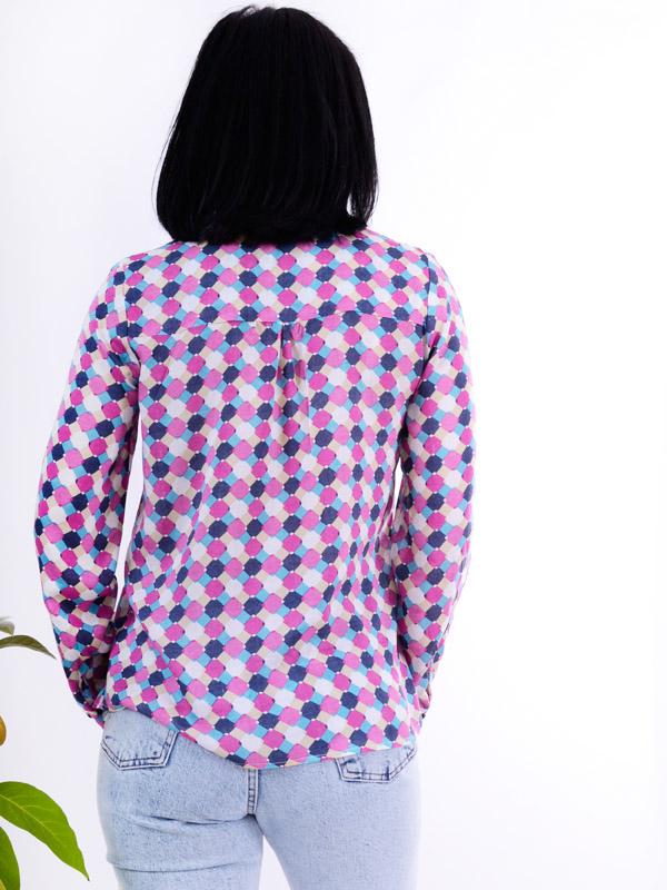 Блуза штапель с принтом ромбик