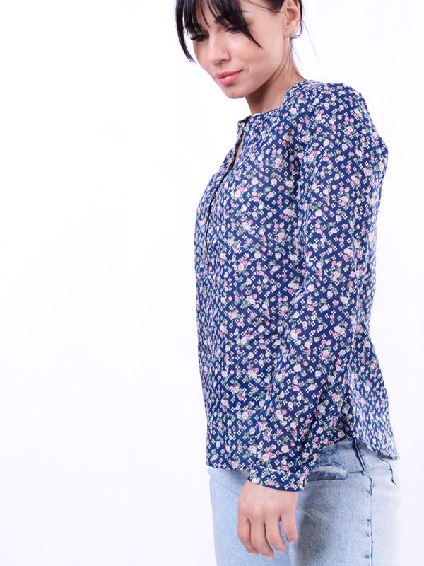Блуза ситцевая с принтом розы