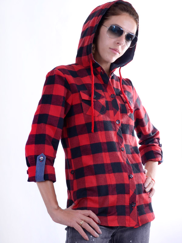 Flannel shirt with a hood