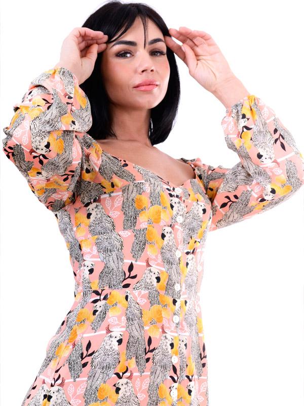 Parrot Long Sleeve Dress