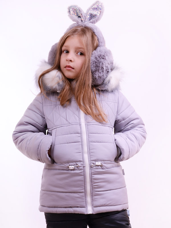 Удлиненная куртка для девочки LUXIK серый k30
